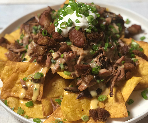 Smoked Pulled Pork Three Way Nachos